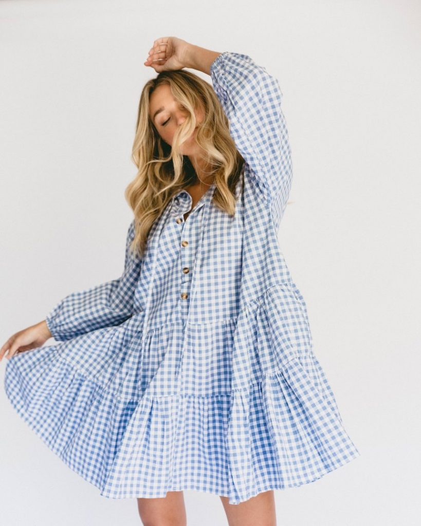 Gingham oversized mini smock dress
