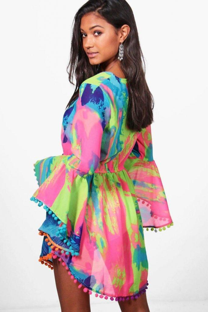 Tropical Pom Pom Beach Dress ชุดเดรสสั้นปอมปอมสีสันสดใส