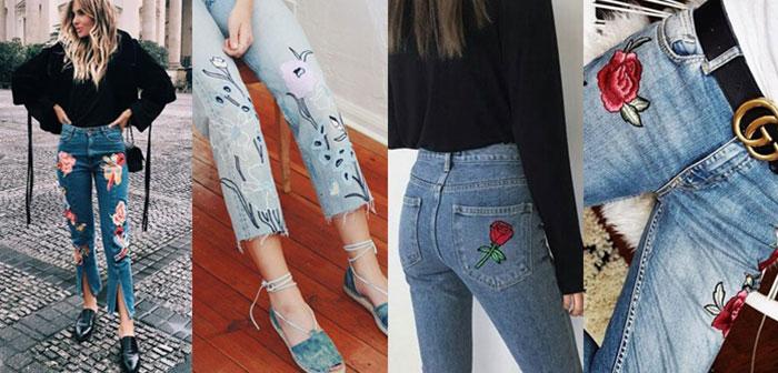 กางเกงยีนส์ปักดอกไม้