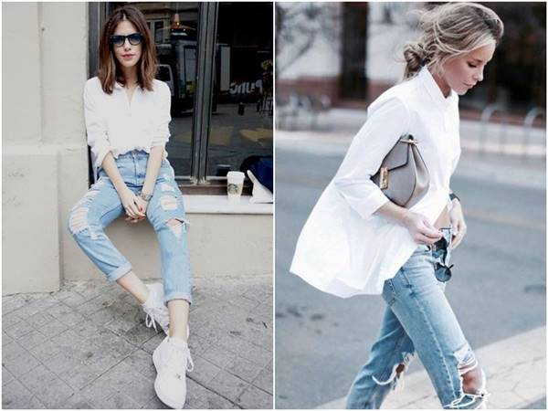 เสื้อเชิ้ตขาวตัวใหญ่ ใส่กับกางเกงยีนส์ขาดๆ