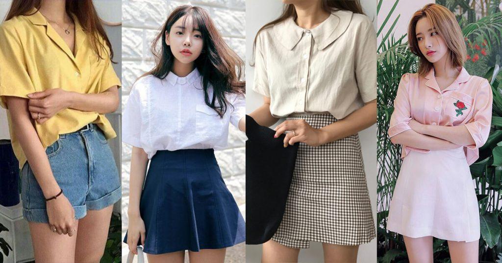 เสื้อเชิ้ตสีขาวแนวสีหวานแว๋วใส่กับกระโปรงสีสดใส